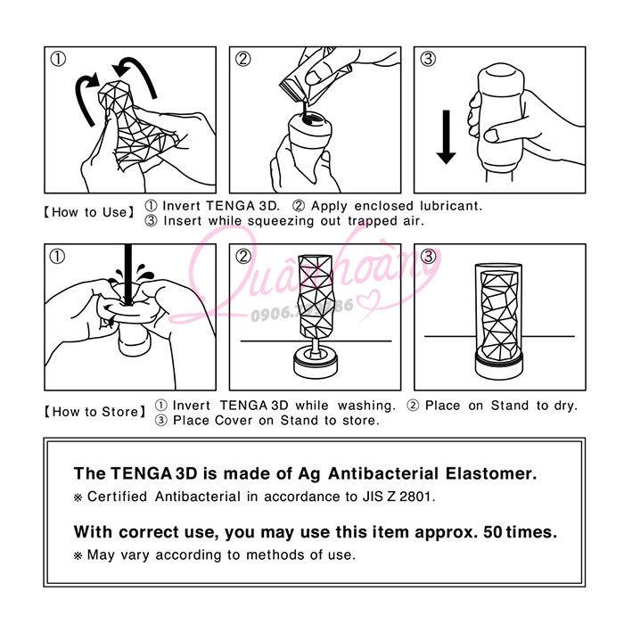 Cốc thủ dâm cao cấp Tenga 3D hướng dẫn sử dụng
